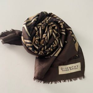 Vintage givenchy nouvelle green brown silk scarf
